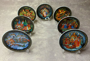 """Set of 7 Decorative Plate Palekh Style Print. 4"""" (10cm). Made Russian"""