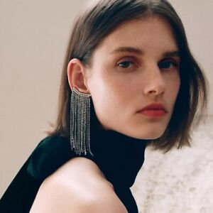 Stunning-Designer-Style-Runway-Chain-Rhinestone-Cuff-Embellished-Drop-Earrings
