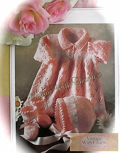 59ed47577c3e Vintage Knitting Pattern Baby s Dress