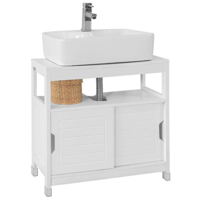 Sobuy Under Sink Bathroom Storage Cabinet With Sliding Door White
