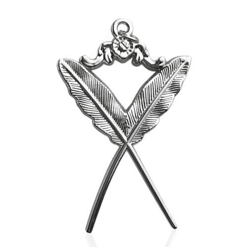 Masonic Secretary Silver Pendant Feather Quill Collar Jewel Masons Regalia