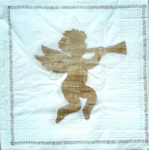 4 x Single Table Paper Napkins //Craft Party// for Decoupage WOODEN ANGEL