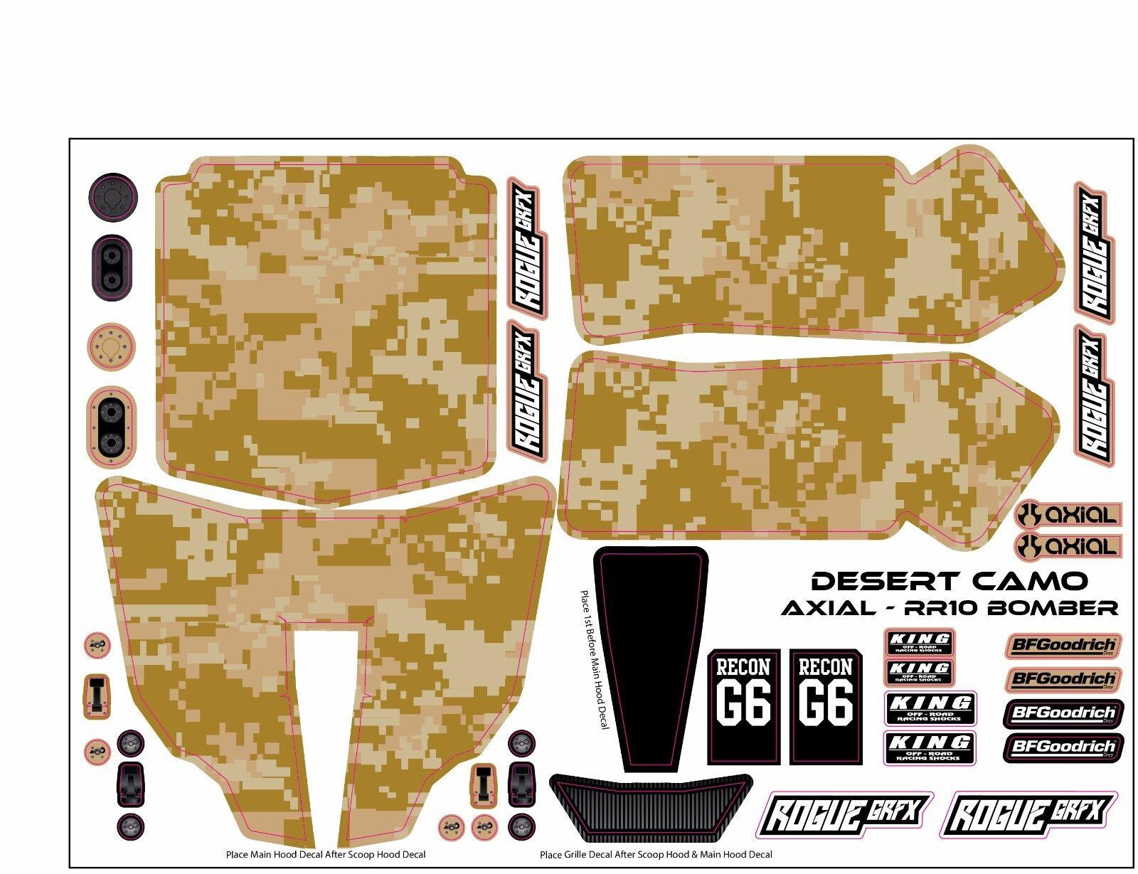 Axial RR10 Bomber Body Graphic Wrap Skin- Desert Camo Camo Camo 4893c8