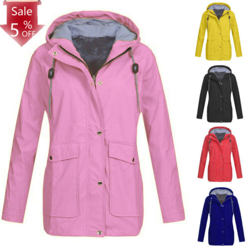 Winter Women Solid Rain Jacket Outdoor Plus Waterproof Hooded Raincoat Windproof