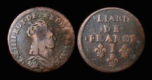 Louis-XIV-Liard-de-France-1655I-Limoges-Buste-juvenile-Type-II