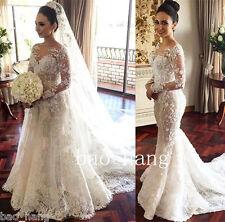 Lace Beaded Wedding Dress Detachable Train Long Sleeve Sheath Bridal Gown Custom