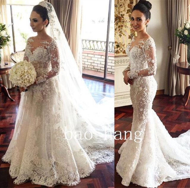 Lace Beaded Wedding Dress Detachable Train Long Sleeve Sheath Bridal ...