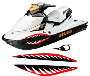 Sea Doo Yamaha Kawasaki Honda Polaris Jet Ski 2 3 Pwc Teeth Mouth Shark Decal 3 Ebay