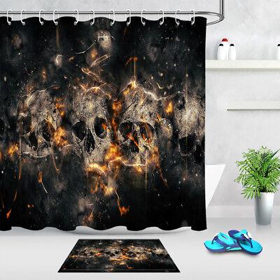 Halloween Gold Flame Skull Shower Curtain Bathroom Waterproof Fabric /& Bath Mat