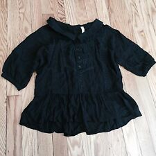Free People Womens XS Ruffle Shirt Black Sheer Lace Top Peasant Festival Boho