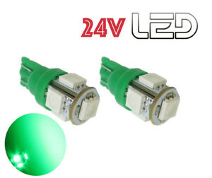 Capable 2 Ampoules W5w T10 5 Led 24v Vert Camion Scania Iveco Renault Volvo Man Truck Approvisionnement Suffisant