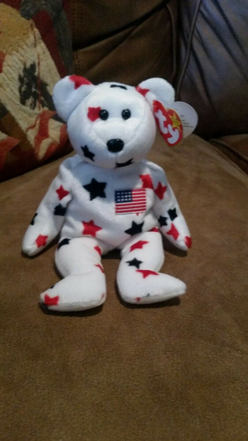 Glory Beanie Baby Bear 4th of July stars plush animal '97 ear tag '98 tush tag