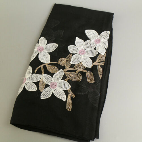 Women/'s Female Scarf Embroidered Flower Cotton Shawl Scarves Hijab Head Wraps