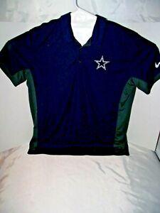 NFL-Dallas-Cowboys-NIKE-Dri-Fit-Gray-Blue-Polo-Golf-Shirt-Men-039-s-XL-Extra-Large