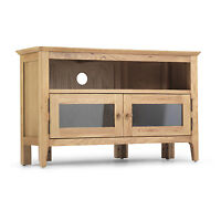 Sydney Contemporary Solid Wood Oak Corner Widescreen Lcd Tv Cabinet Stand Unit