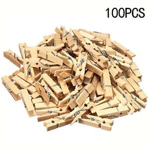100X-Mini-Natural-Small-Wooden-Pegs-Clip-Clamp-For-Photo-Clothing-P-Wedding-P3J9