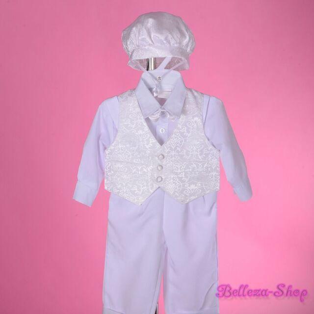 5 Pcs White Baby Boy Baptism Christening Outfit Suit Vast Cap Size 18-24m CN007