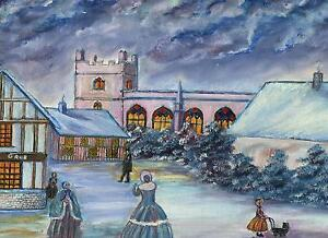 AMERICANA CHRISTMAS SEASON CHURCH RESTAURANT VICTORIAN HOUSE FOLK ART PAINTING