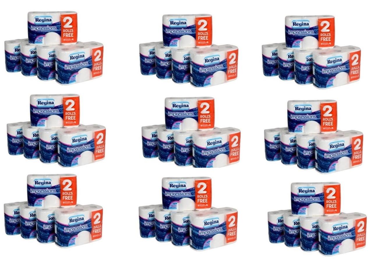 Regina Impressions 120 Rouleaux de 3 épaisseur Doux Matelassé Papier Toilette