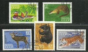 Russia-USSR-CCCP-1970-Very-Fine-Precancel-Hinged-Stamps-Set-034-Birds-amp-Animals-034