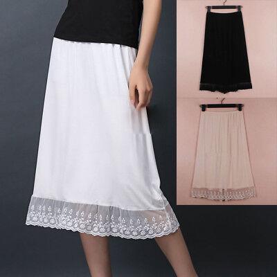 Modal Lace Trim Half Slip Underskirt Elastic Waist Chemise Safety Skirt Mini New