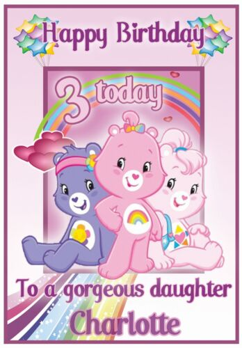 3 Stunning Designs /& Personalised ! Care Bears Inspired Birthday Cards