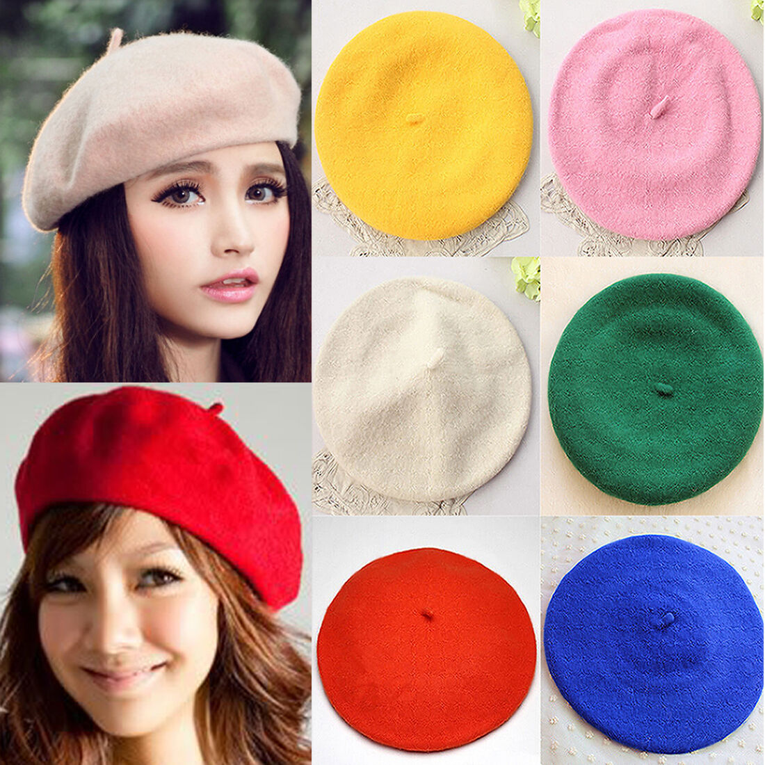 Fashion Women/'s Warm Winter Cashmere Wool Beret Military Army Hat//cap Beret Hats