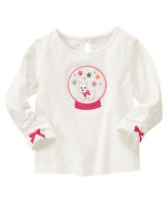 NWT-GYMBOREE-GIRLS-034-CHERRY-ALL-THE-WAY-034-OFF-WHITE-TOP-WITH-SNOW-GLOBE-12-18M-amp-4