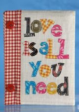 Notebook Journal paper lined LOVE IS ALL YOU NEED cute fabric book FREE SHIPPING