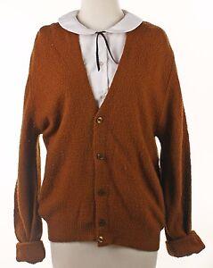 60s Brown Cardigan Boyfriend Sweater - Vintage Men's Button Up ...