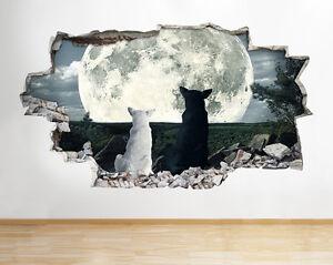 Perro-Gato-A141-Luna-Sunset-Animal-Tie-pegatina-pared-vinilo-3d-habitacion-ninos