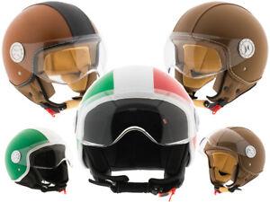 Casco-moto-in-pelle-scooter-demi-Jet-omologato-ECE-R22-05-con-visiera-uomo-donna