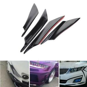 4x-Real-Carbon-Fiber-Car-Front-Bumper-Fins-Body-Spoiler-Canards-Universal-Black