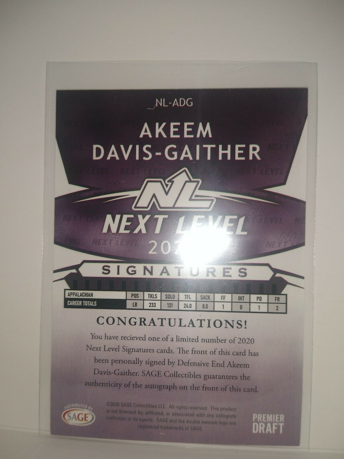 2020 SAGE HIT Premier Draft Silver Football #36 Akeem Davis-Gaither Appalachian State Mountaineers Official Pre-Draft Rookie Trading Card