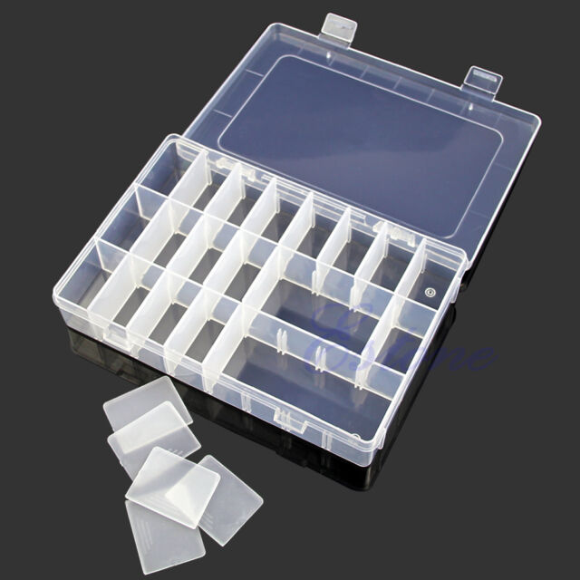 Adjustable Plastic 24 Compartment Storage Box Jewelry Earring Bin Case Container