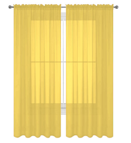 """2 Pack Fully Stitched Sheer Window Curtain Panel Drapes 63/"""" 84/"""" 95/"""" 108/"""" 120/""""L"""