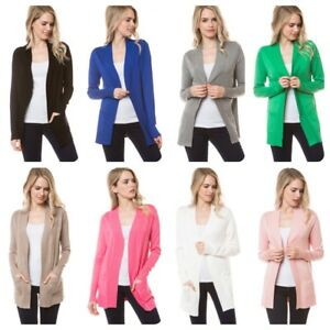 Women-Casual-Long-Sleeve-Solid-Open-Front-Cardigan-Sweater-S-3X-USA-SELLER