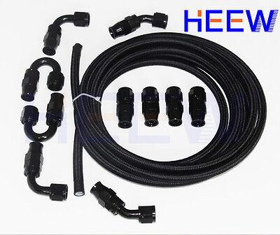 AN6 AN-6 PTFE Teflon oil gas Line E85 Fuel Hose Kit+fitting adaptor 6AN 5M BK