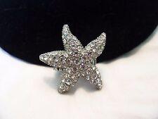 White House Black Market Starfish Ocean Beach Glass Rhinestone Fashion Ring