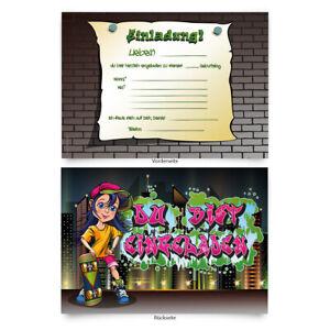 Einladungen-8-Stueck-034-Graffiti-034-zum-Geburtstag-Einladungskarten-Karten