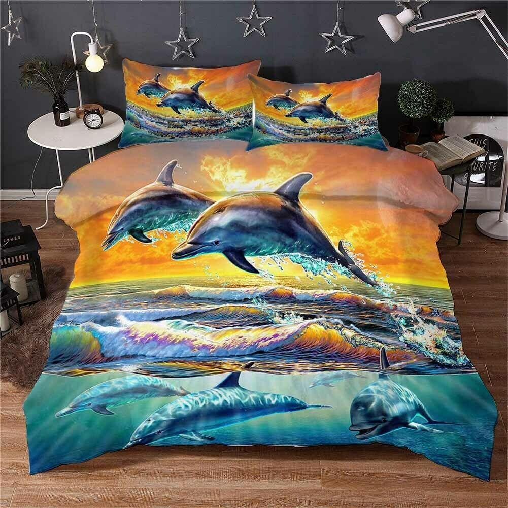 Dolphin Leap Water 3D Printing Duvet Quilt Doona Covers Pillow Case Bedding Sets