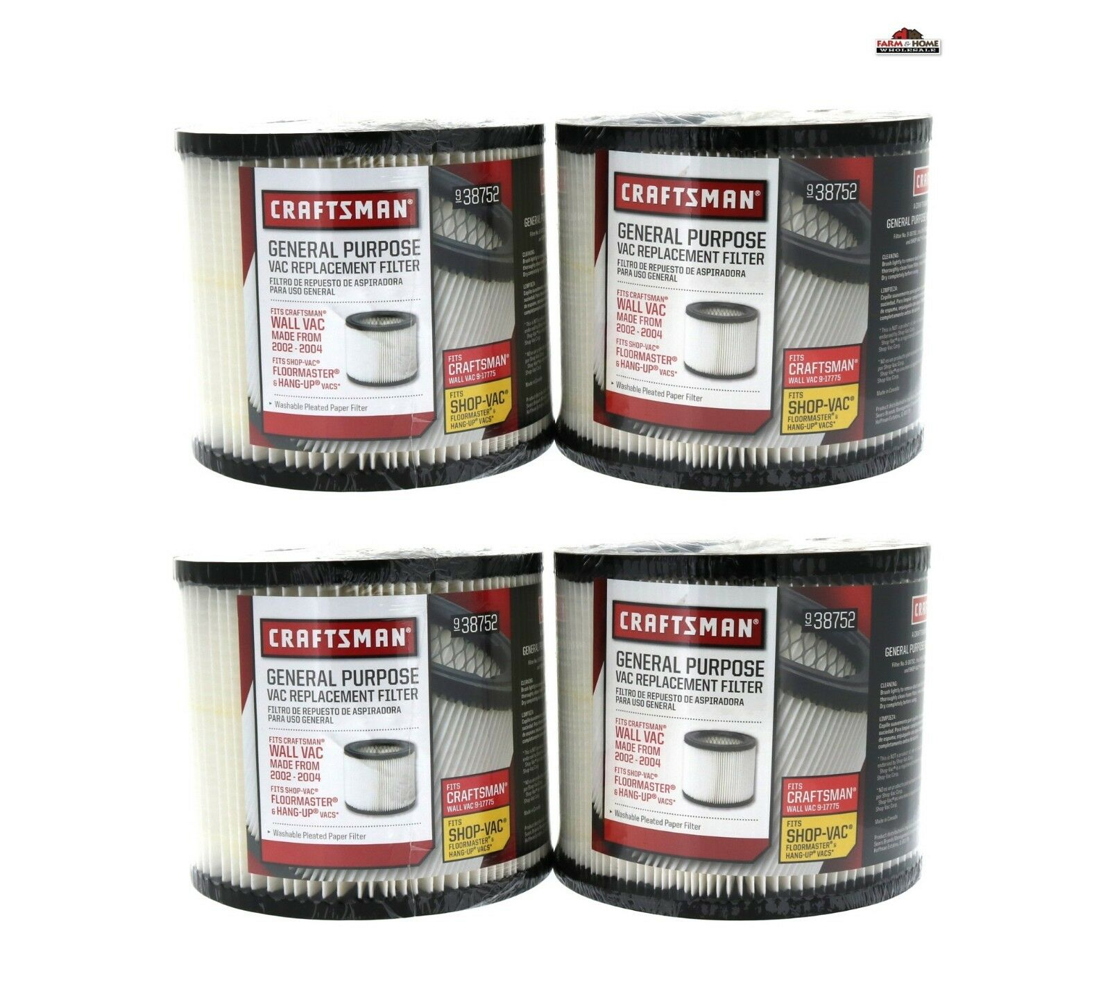 Shop Vac Filter Replacement Washable Reusable 5 Gal 2 - 4 Pk  New