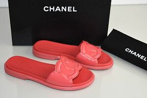 59c38ef0b77935 New 17 S Chanel Cambon Mules RED CC Flats Flat Sandals Patent ...