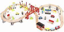 Wooden Train Set Toddler Boys Kids 70 Piece Railway Kit Tracks Car Bridge City