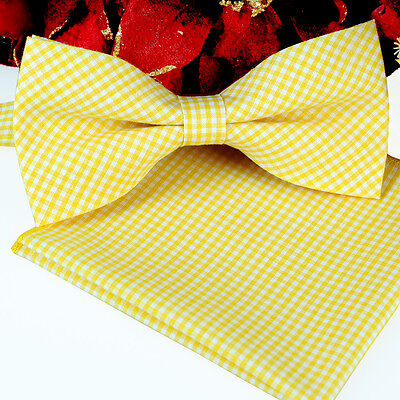 *BRAND NEW* YELLOW&WHITE CHECKED TUXEDO MENS BOW TIE&POCKET SQUARE SET B984