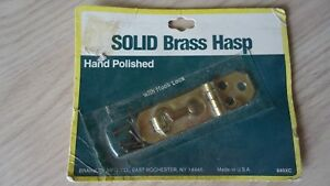 Vintage-Solid-Brass-Small-Hinged-Hasp-With-Hook-Lock-Made-In-U-S-A-NOS