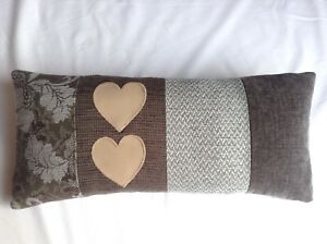 Luxury shabby chic chenille panel cushion real leather applique