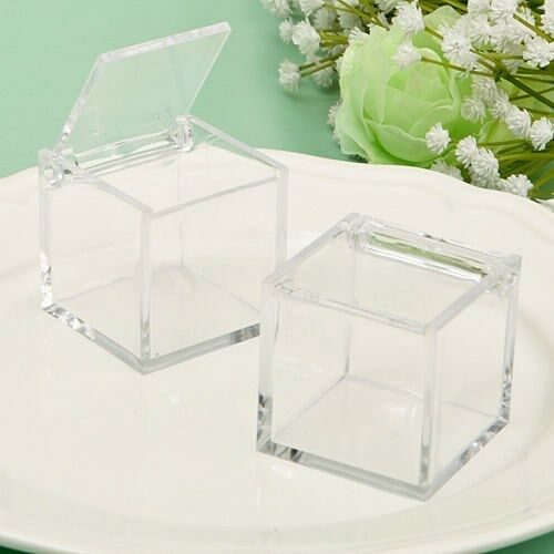 125 Clear Acrylic Cube Candy Box Wedding Bridal Baby Shower Party Favors