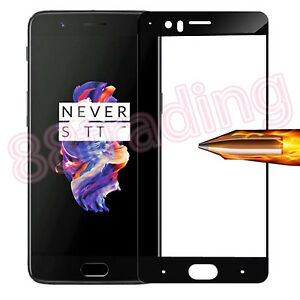 FULL-SIZE-FIT-BLACK-TEMPERED-GLASS-SCREEN-PROTECTOR-FOR-One-Plus-5-OnePlus-Five