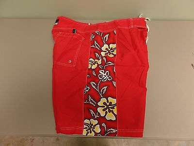 Swimwear Men's Clothing Fins Board Shorts Red Hawiian Nylon Men's Size 40 Euc Elegant In Style